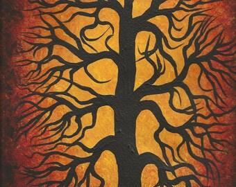 Red Oak TREE, Original Acrylic painting, Modern Art by TREEARTIST Jordanka Yaretz