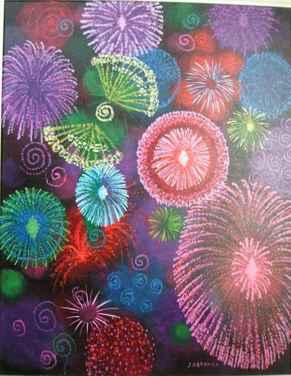 Fireworks II, Original Acrylic painting by Jordanka Yaretz, UNICEF Artist