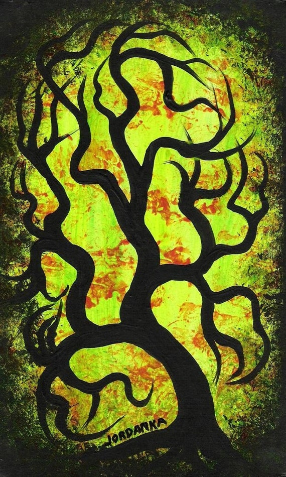 Contemporary art, Original Acrylic painting by Jordanka Yaretz, Little green tree