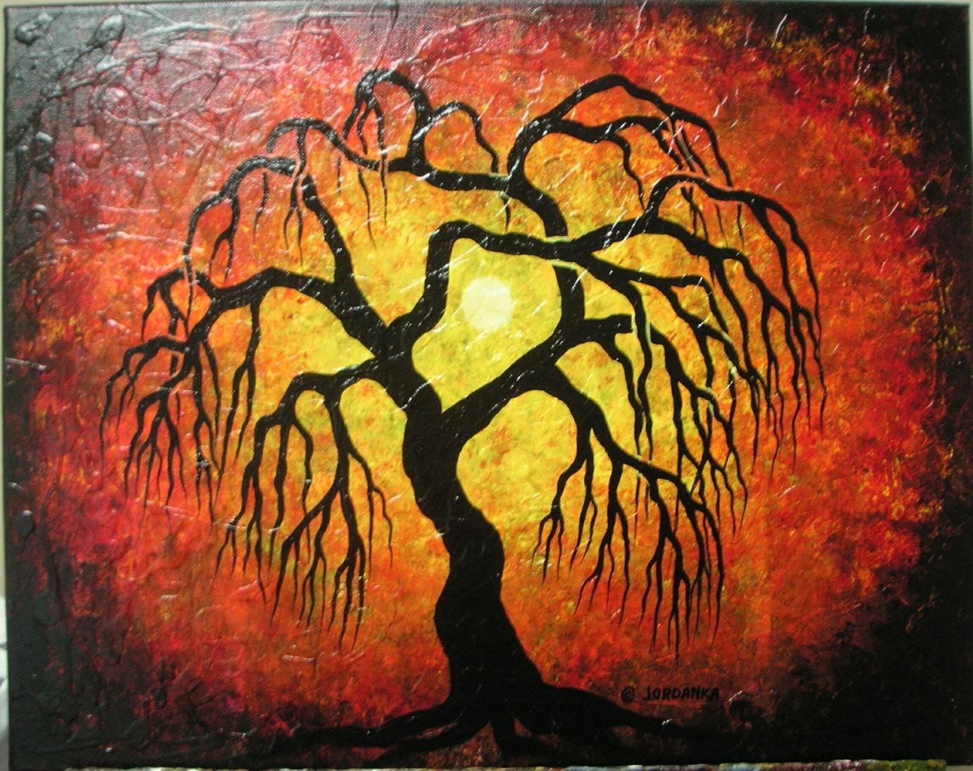 Black Willow Tree Painting