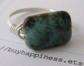Pick your stone and ring size  African Turquoise Puffy Rectangle Ring