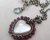 Garnet Wrapped Pearl Heart Necklace