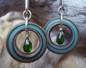Earthy Glass Ring and Chrome Diopside Earrings
