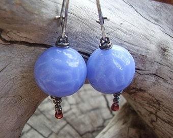 Vintage Periwinkle Bead Earrings