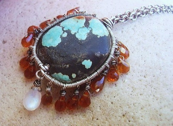 RESERVED Turquoise, Citrine & Moonstone Necklace RESERVED