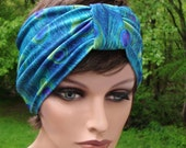 Peacock Bird Feathers Silky Soft Blue Green Stretch Retro Pin Up Girl Headband