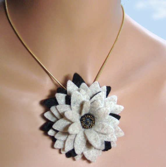 Black and Oatmeal Tan Felt Flower Brooch and Necklace Combination
