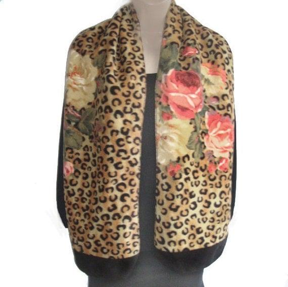 Roses on Classic Cheetah Leopard Print Long Fleece Scarf Womens