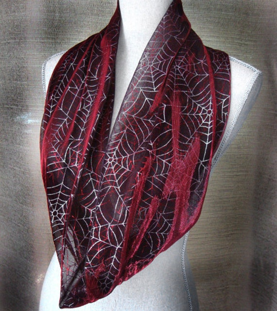Gothic Infinity Scarf in Blood Red with Silver Spiderwebs Stretchy  Cowl & Headband