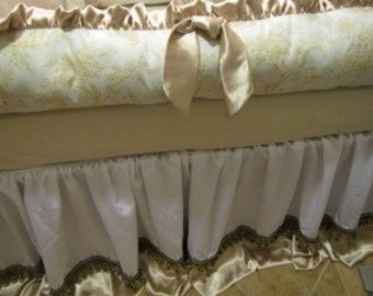 CRIB SET Blue Taupe Toile with satins Bedding