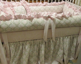 Custom  Crib Set Pink and Taupe Damask  Nursery Bedding Baby Girls