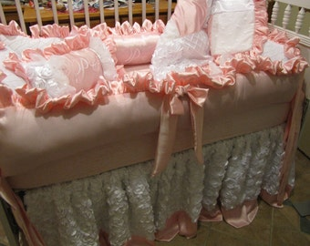 Custom Crib  luxury Set White and Pink  Using Pink satins and Rosette