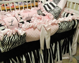 Custom  Crib Set Black white and Pink Dots Zebra Stripe Very Modern