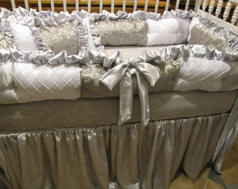 Custom  Crib Set  Silvers and White Luxury  Style Bedding  for Boy or Girl
