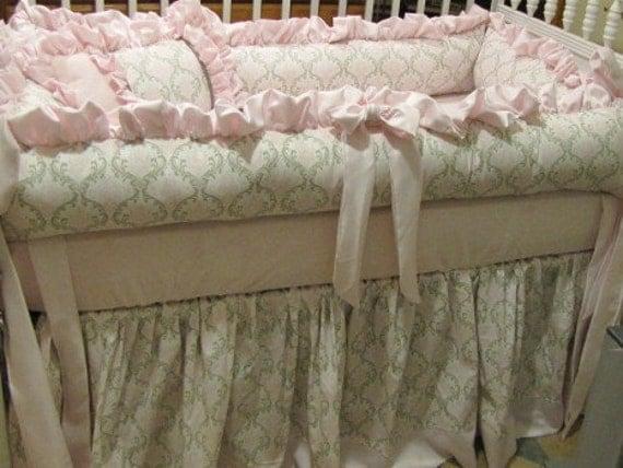 Custom  Crib Set Pink and Taupe Damask with satins