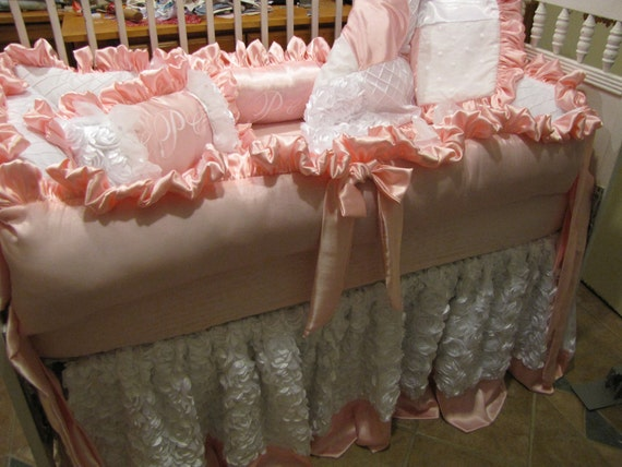 Custom Crib  luxury Pinks and whites satins 5 pc for Candace only