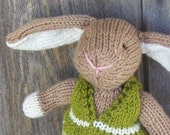 Bunny Rabbit, Hand knit/All natural/Eco Friendly/Heirloom Toy RESERVED for Rebecca