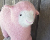 Waldorf Toy - Stuffed Animal - Sheep of a different color, PINK, Knitted and Felted, Eco-Friendly, All Natural Barnyard Friend