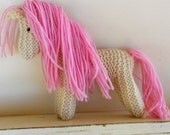 Valentine Gift Waldorf Toy Earth pony Eco Kids Toy Pink Pony Stuffed Animal Horse hand knit plush Natural