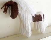 Earth Pony, Waldorf Toy, Stuffed Animal Horse, knitted horse, Paint, Pinto, Natural and Eco Friendly, handknit by Woolies on Etsy
