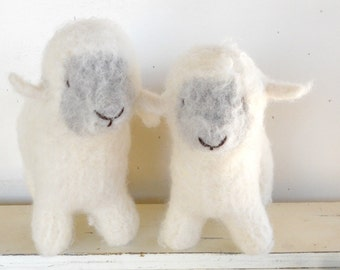Waldorf Toy Sheep, Lamb - Natural Stuffed Animal - Custom Knit - Eco Friendly Kids Toy