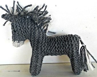 Earth Pony, Waldorf Toy, Stuffed Animal Donkey,  Eco Kids Toy,  handknit by Woolies