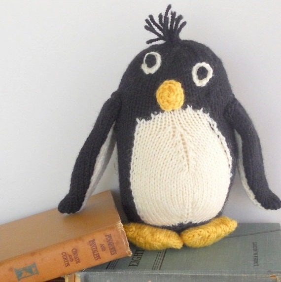 Stuffed Animal Toy,  Penguin, Knitted Friend, All Natural Toy, Eco Friendly Kids Toy, Custom Order