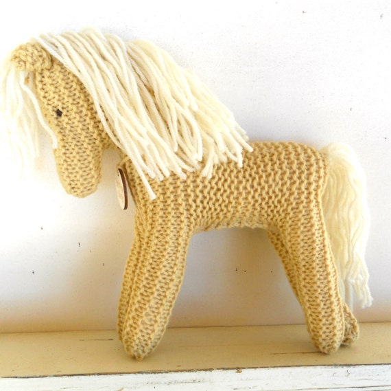 Earth Pony, Waldorf Toy, Stuffed Animal Horse, knitted horse, natural and eco friendly, Large Earth Pony, Palomino