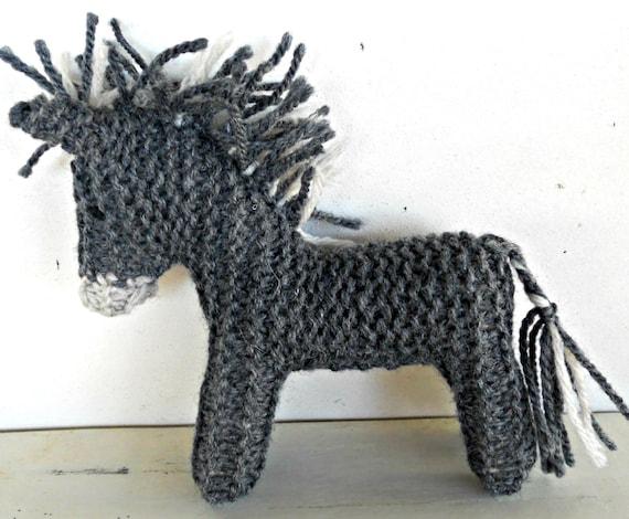 Earth Pony, Waldorf Toy, Stuffed Animal Donkey,  Eco Kids Toy,  handknit by Woolies