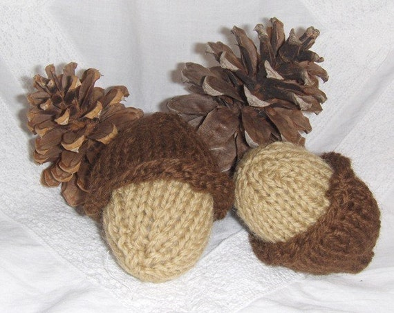 Acorns - Knitted, Natural, Eco Friendly, Childs Toy, Nature Table, Earth Friendly RESERVED FOR FELICITY