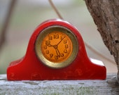 Reserved for vaseOflowers Bakelite Clock Pencil Sharpener - Red Swirl