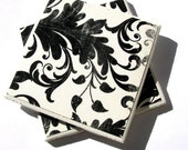 Black and White Floral Coasters - Set of 4 (ltg124)