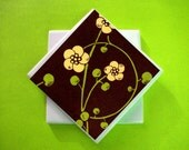 Chocolate Brown Floral Coasters - Set of 4 (ltg847)