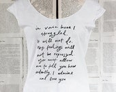 SALE - size XL - scoop neck t shirt - last in stock - Jane Austen - Mr. Darcy Proposal - you choose print