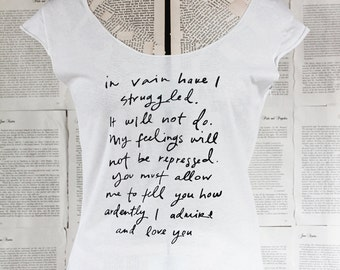 SALE - size MEDIUM - scoop neck t shirt - last in stock - Jane Austen - Mr. Darcy Proposal - you choose print