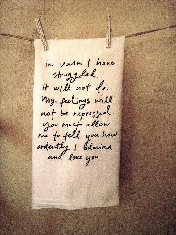 Mr. Darcy Proposal Dish Towel