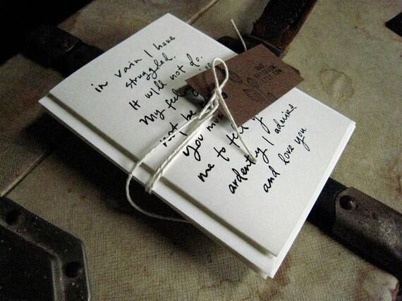 Screenprinted Mr. Darcy Proposal notecard set (3)