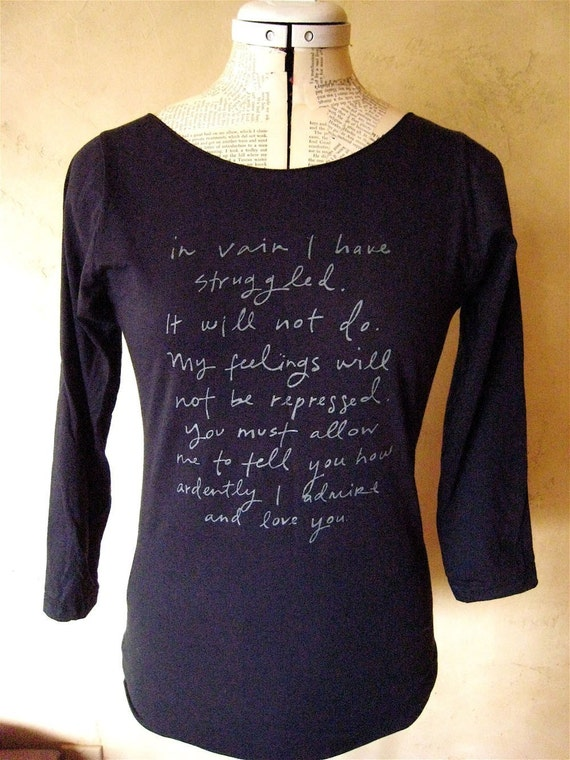 Mr. Darcy Proposal shirt- navy- S or XL