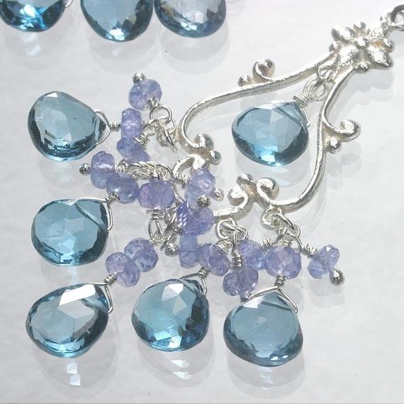 London Blue Topaz Tanzanite Sterling Silver Chandelier Earrings