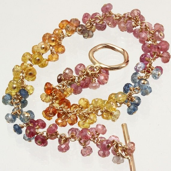 Pink Orange Yellow Blue Sapphire Bracelet