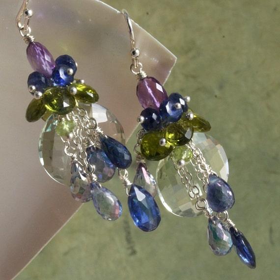 On SALE - Green Amethyst Peridot Kyanite Amethyst Earrings