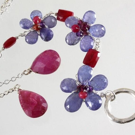 Tanzanite Ruby Flower Bouquet Long Lariat Necklace