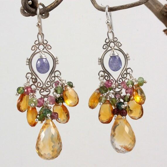Citrine Tormaline tanzanite Chandelier Earrings