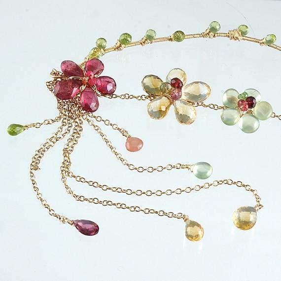 Pink Tourmaline Citrine Prehnite Vine Flowers Necklace