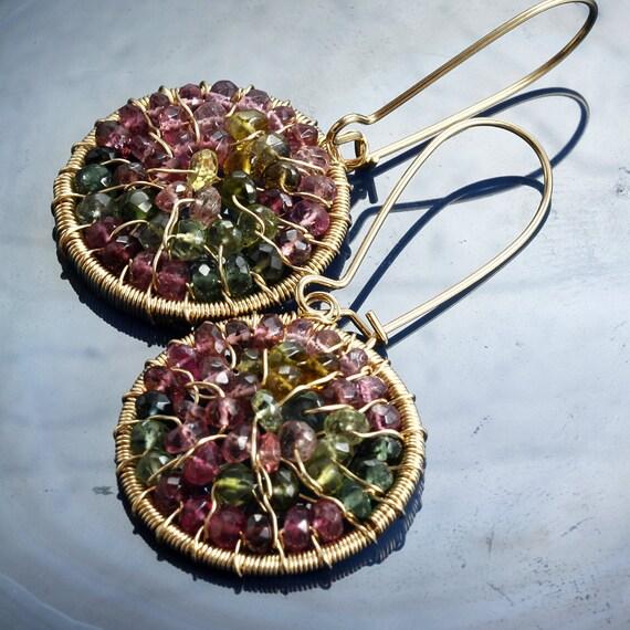 Multi Tourmaline Wire Wrapped Earrings