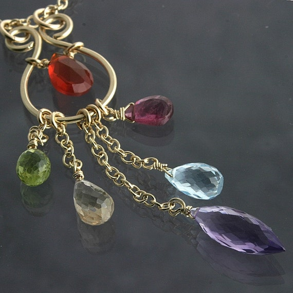 Pink Amethyst Blue topaz Pink tourmaline Peridot Mexican Fire Opal Multi Charm Necklace