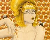 Queen Bee art print - 8x10 - honey girl Apiphilia by Heather Rose