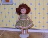 Sage Posies dress for Mini Ginny and Madame Alexander Petite dolls