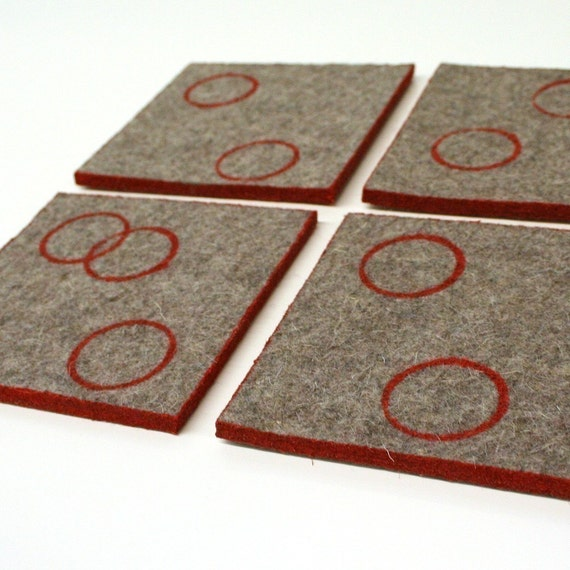 Industrial Felt Coasters - Dipped and Stamped - Red