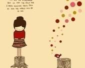 illustration digital art print, music poster, quote art, girl bird drawing, kids room, kitchen art, UTOPIA